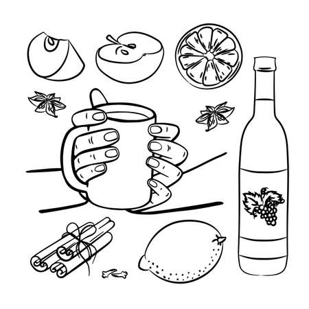 MULLED WINE SPICES AND FRUITS Merry Christmas New Year Drink Dessert Beverage Monochrome Clip Art Vector Illustration Set For Print
