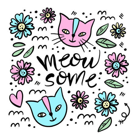 CUTE CAT Hand Drawn Children Sketch Valentine Day Love Floral Flower Cartoon Animal Clip Art Vector Illustration Set For Print