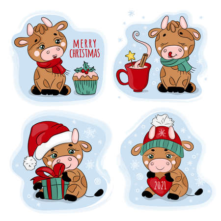 NEW YEAR BULL Merry Christmas Cartoon Winter Holiday Vacation Cute Animal Character Hand Drawn Clip Art Vector Illustration Set For Print