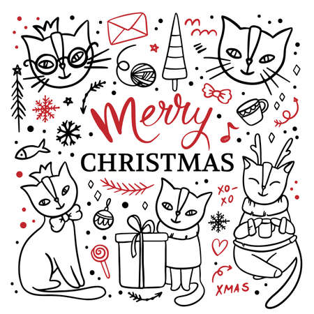 SITTING CATS Hand Drawn Children Sketch Merry Christmas New Year Cartoon Animal Black Red Clip Art Handwriting Text Vector Illustration Set For Print Illusztráció