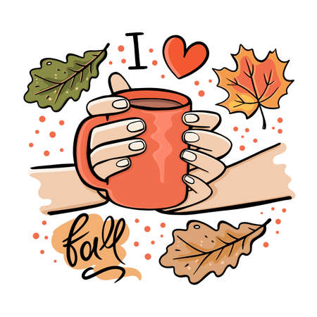 GIRL HOLDING MUG OF HOT CHOCOLATE In Her Hands Autumn Fall Garden Nature Hand Drawn Cartoon Clip Art Vector Illustration Set For Print Illusztráció