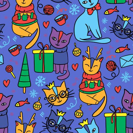 MERRY CHRISTMAS CAT Hand Drawn Children Sketch New Year Cartoon Cute Animal Seamless Pattern Vector Illustration For Print Illusztráció
