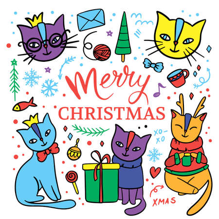 CUTE CAT MERRY CHRISTMAS Hand Drawn Children Sketch New Year Cartoon Animal Clip Art Handwriting Text Vector Illustration Set For Print