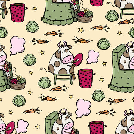 BULL COOKES SOUP AND KNITS Vegetarian Food Merry Christmas New Year Cartoon Winter Holiday Cute Cow Animal Hand Drawn Seamless Pattern Vector Illustration For Print