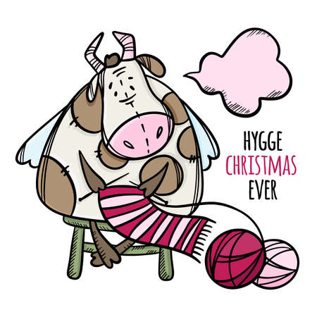 CUTE COW KNITS A CHRISTMAS SCARF New Year Merry Christmas Cartoon Winter Holiday Vacation Bull Hand Drawn Hygge Clip Art Vector Illustration Set For Print