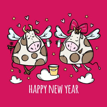 LETS DRINK FOR A NEW YEAR Two Funny Cows Clink Glasses Merry Christmas Cartoon Holiday Bull Hand Drawn Hygge Clip Art Vector Illustration Set For Print