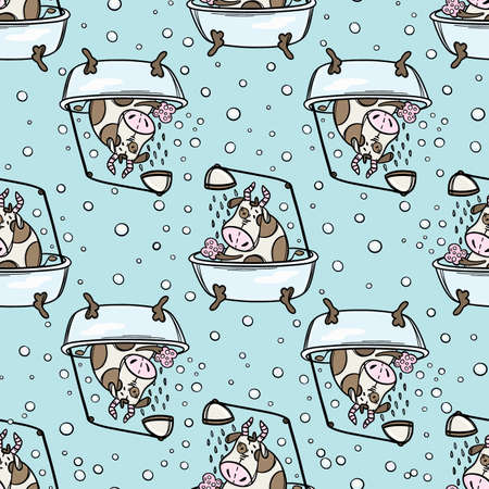 CUTE COW BATHING IN THE BATH FLIPPED OVER New Year Merry Christmas Cartoon Holiday Cute Animal Hand Drawn Seamless Pattern Vector Illustration Set For Print