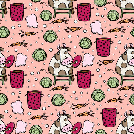 BULL MAKES VEGETARIAN SOUP Proper Nutrition Food Merry Christmas New Year Cartoon Holiday Cute Cow Hand Drawn Seamless Pattern Vector Illustration For Print