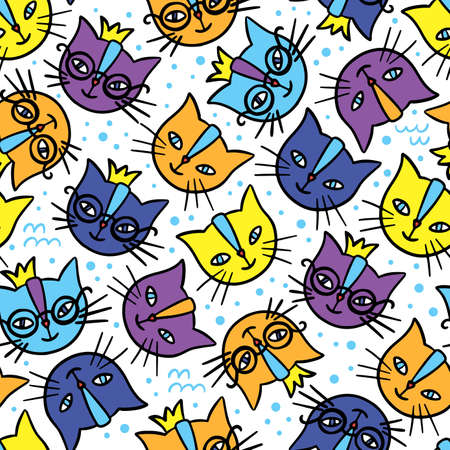 COLORFUL CATS Hand Drawn Children Sketch Cartoon Cute Animal Faces Seamless Pattern Vector Illustration For Print