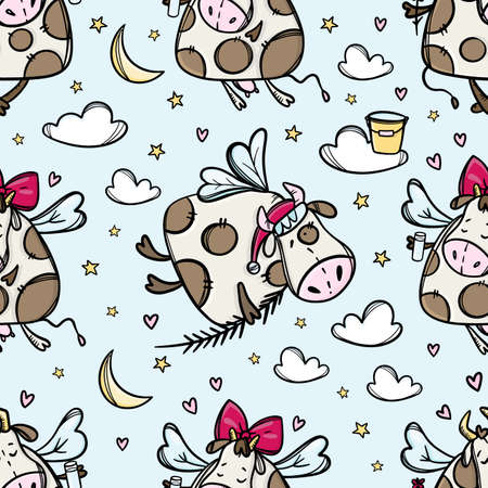 CHRISTMAS BULL IN FLIGHT Cow In The Sky With Christmas Tree Branch New Year Cartoon Holiday Cute Animal Hand Drawn Seamless Pattern Vector Illustration For Print