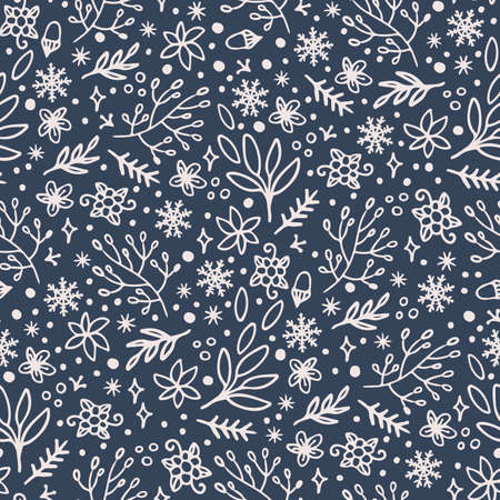 ABSTRACT HYGGE CHRISTMAS New Year Winter Holiday Floral Hand Drawn White Ornament On Dark Blue Background Cartoon Seamless Pattern Vector Illustration For Print