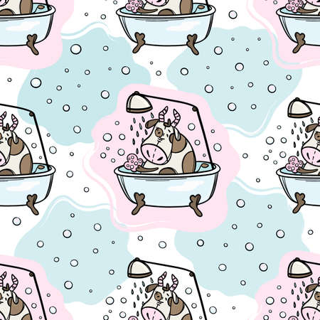BULL TAKES BATH AND SHOWER Cow Monitors Hygiene New Year Merry Christmas Cartoon Holiday Cute Animal Hand Drawn Seamless Pattern Vector Illustration For Print