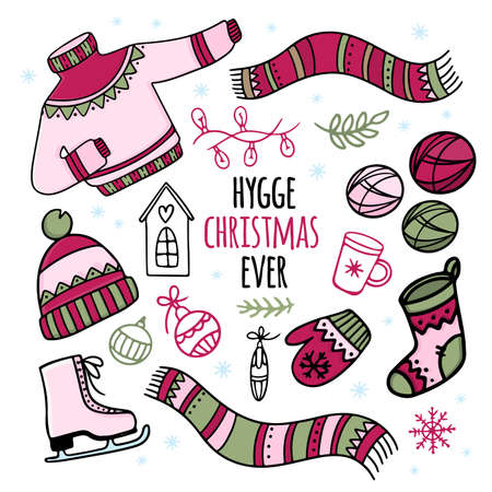 HYGGE CHRISTMAS EVER New Year Merry Christmas Attributes And Winter Warm Clothes Cartoon Hand Drawn Handwriting Text Clip Art Vector Illustration Set For Print Illusztráció