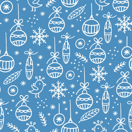 NEW YEAR ABSTRACT HYGGE Christmas Hand Drawn White Ornament With Christmas Decoration On Light Blue Background Seamless Pattern Vector Illustration For Print Illusztráció