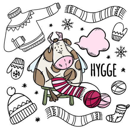 COW KNITS WARM WINTER THINGS New Year Merry Christmas Cartoon Winter Holiday Bull Hand Drawn Hygge Monochrome Clip Art Vector Illustration Set For Print Illusztráció