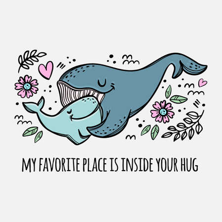 WHALES HUGGING Mother And Daughter Parental Relationship Cute Animals Friend To Friend Handwriting Text Hand Drawn Clip Art Vector Illustration Set For Print Illusztráció