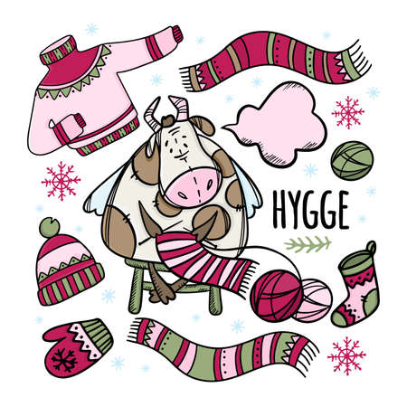 CHRISTMAS COW KNITS WINTER CLOTHES Warm New Year Sweater Scarf Hat And Mitten Holiday Bull Hand Drawn Hygge Cartoon Clip Art Vector Illustration Set For Print Illusztráció
