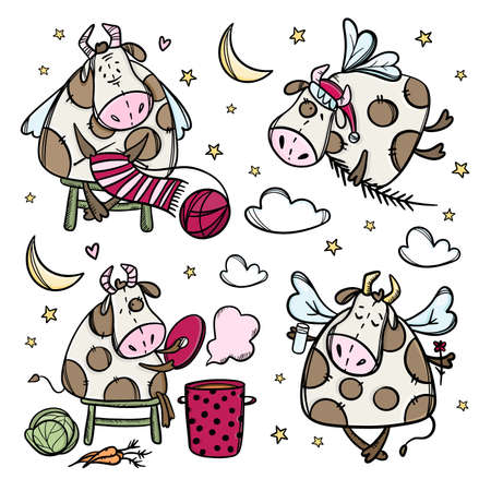 NEW YEAR COW CHARACTERS Four Christmas Bulls Preparation For Merry Christmas Winter Holiday Cartoon Hand Drawn Hygge Clip Art Vector Illustration Set For Print Illusztráció
