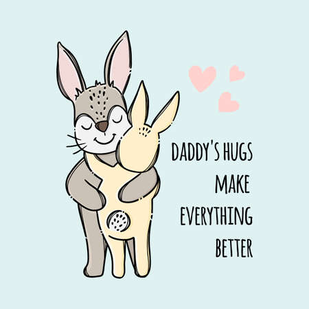 FATHERS DAY Hare Hugs His Son Holiday Parental Relationship Cute Animals Friend To Friend Handwriting Text Hand Drawn Clip Art Vector Illustration Set For Print 向量圖像