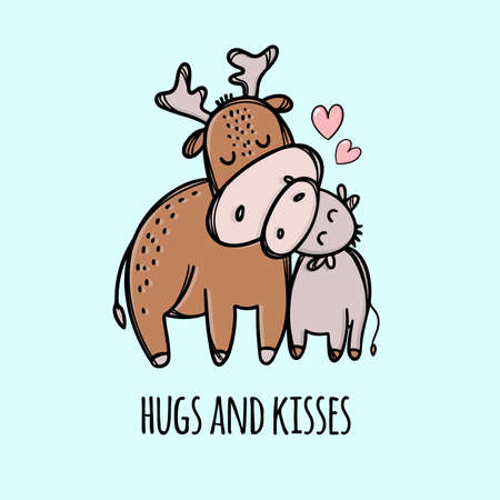 DEER HUG HIS SON Father Day Holiday Parental Relationship Cute Animals Friend To Friend Handwriting Text Hand Drawn Clip Art Vector Illustration Set For Print 向量圖像