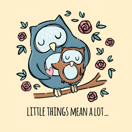 OWL HUG HER SON Mothers Day Holiday Parental Relationship Cute Birds Friend To Friend Text Hand Drawn Clip Art Vector Illustration Set For Print 向量圖像