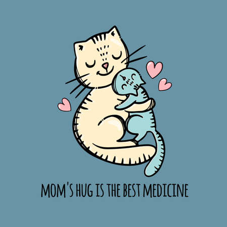 PUSSY HUG HER DAUGHTER Mothers Day Parental Relationship Cute Animals Friend To Friend Handwriting Text Hand Drawn Clip Art Vector Illustration Set For Print 向量圖像