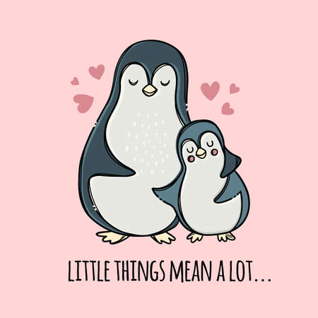PENGUIN HUG HIS SON Fathers Day Holiday Parental Relationship Cute Birds Friend To Friend Handwriting Text Hand Drawn Clip Art Vector Illustration Set For Print