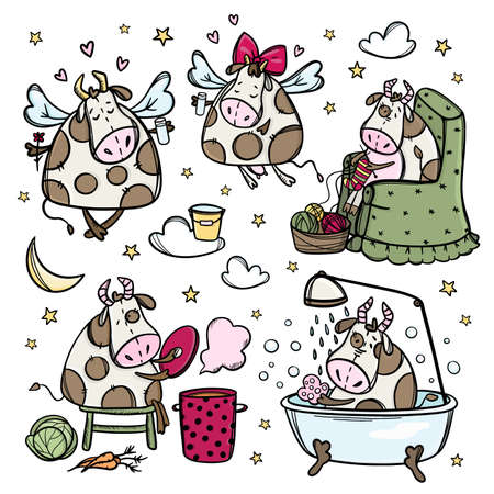 FUNNY COWS Five Cute Christmas Bulls Preparation For Merry Christmas Winter Holiday Cartoon Hand Drawn Hygge Clip Art Vector Illustration Set For Print