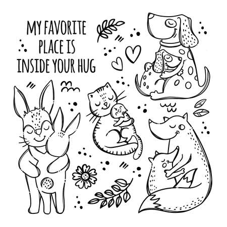 FATHERS MOTHERS DAY Monochrome Cute Animals Hug Their Children Parental Relationship Handwriting Text Hand Drawn Clip Art Vector Illustration Set For Print