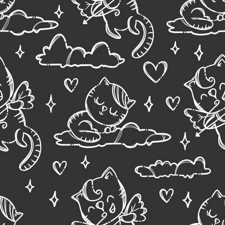 HAPPY VALENTINES DAY Kitten Cupid Shoots A Bow Flying In The Sky Surrounded Hearts Hand Drawn Cartoon Seamless Pattern Vector Illustration For Print 向量圖像