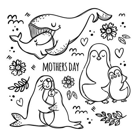 MOTHERS DAY PARTY Monochrome Cute Animals Hug Their Children Parental Relationship Handwriting Text Hand Drawn Clip Art Vector Illustration Set For Print