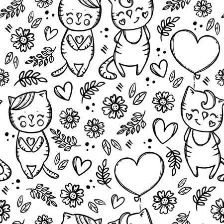 VALENTINE CAT Day Kitten Holding A Heart-Shaped Balloon Monochrome Hand Drawn Cartoon Seamless Pattern Vector Illustration For Print