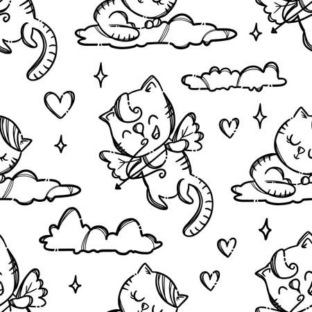 VALENTINE DAY PARTY Cute Kitten Cupid Shoots Archery Lovers Monochrome Hand Drawn Cartoon Seamless Pattern Vector Illustration For Print 向量圖像