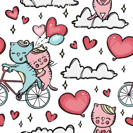CAT ON A BIKE Pussycat Hugs Her Lover Who Rolls Her On The Cloud Valentine Day Cartoon Animals Hand Drawn Seamless Pattern Vector Illustration For Print 向量圖像