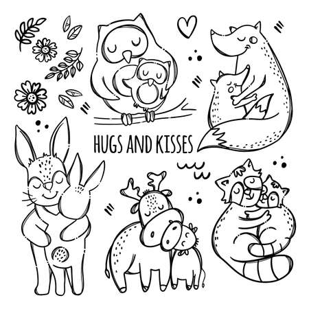 HUGS AND KISSES Cute Animals Hugs And Kisses Their Children Parental Relationship Monochrome Hand Drawn Clip Art Vector Illustration Set For Print 向量圖像