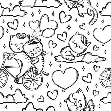 BICYCLE CATS On Clouds Kitten Cupid Shoots Archery In Lovers Valentine Day Cartoon Animals Monochrome Hand Drawn Seamless Pattern Vector Illustration For Print