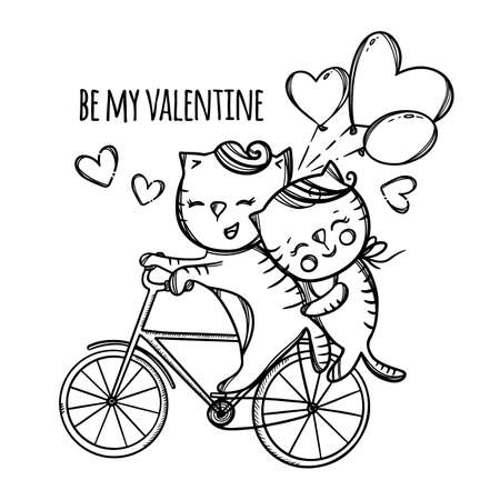 CAT RIDING A BIKE Pussycat Hugs Her Lover Who Rolls Her On The Cloud Valentine Day Cartoon Animals Hand Drawn Monochrome Clip Art Vector Illustration For Print
