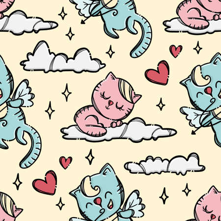 PUSSY ON CLOUD Cat Shoots Archery To Pussycat Sleepping On Cloud In Yellow Sky Background Hand Drawn Cartoon Seamless Pattern Vector Illustration For Print 向量圖像