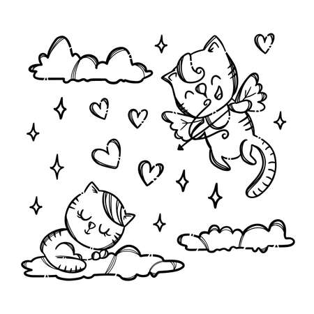 PUSSICAT ON CLOUD Cupid Shoots Archery To Kitty Sleepping On Cloud Monochrome Valentine Day Holiday Hand Drawn Cartoon Vector Illustration Set For Print