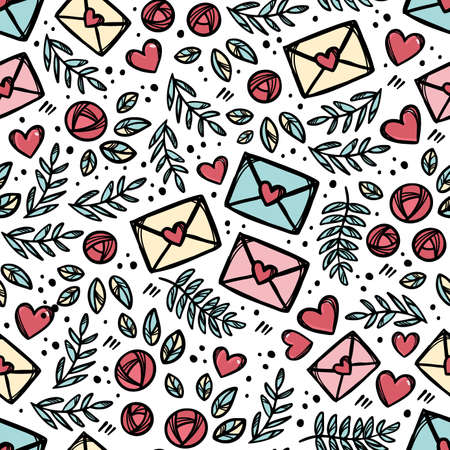 LOVE LETTER MAIL Floral Sketch With Branches And Leaves Roses Hand Drawn For Holiday Decoration Cartoon Seamless Pattern Vector Illustration For Textile Print