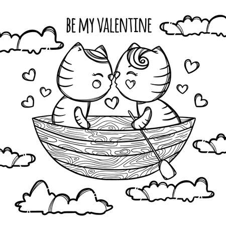 KITTENS IN BOAT KISS Float In The Clouds To Happiness In The Sky Valentine Day Cartoon Hand Drawn Monochrome Clip Art Vector Illustration For Print