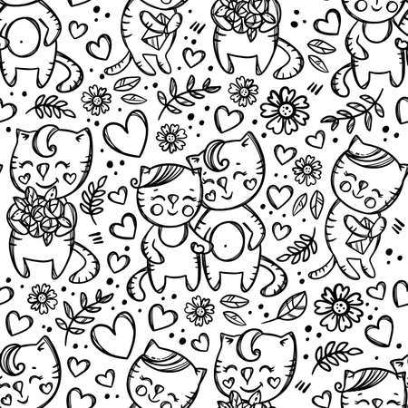 CAT COUPLE Kitten And His Girlfriend Hold Hands Cat With Bouquet Valentine Day Cartoon Hand Drawn Monochrome Seamless Pattern Vector Illustration For Print