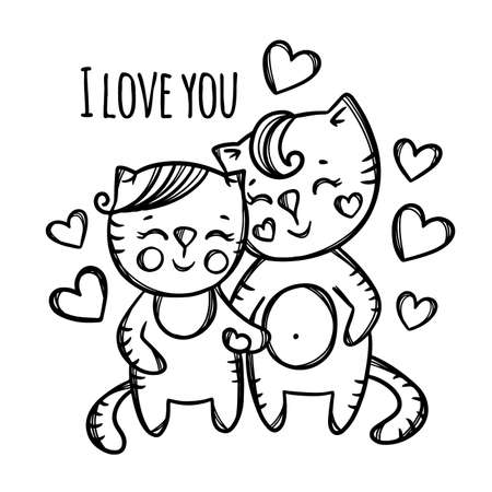 PUSSYCAT AND KITTEN Couple In Love Holds Hands Surrounded Flying Hearts Valentine Cartoon Animals Monochrome Hand Drawn Clip Art Vector Illustration For Print 向量圖像