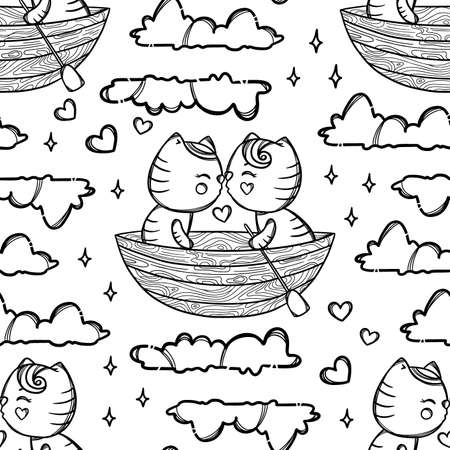 CUTE KITTIES IN BOAT Kissing And Float On The Clouds Valentine Day Cartoon Hand Drawn Monochrome Seamless Pattern Vector Illustration For Print 向量圖像