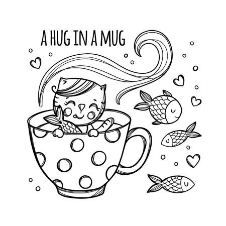 KITTEN AND FISH Cute Kitten Caught Fish In Cup With Hot Drink Holiday Cartoon Monochrome Hand Drawn With Handwriting Text Clip Art Vector Illustration For Print