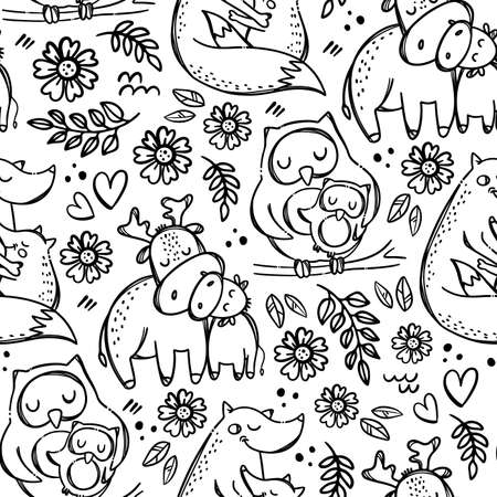 MOM KIDS LOVE Mothers Day Cute Animals Hugs And Kisses Their Children Parental Relationship Monochrome Hand Drawn Seamless Pattern Vector Illustration For Print 向量圖像