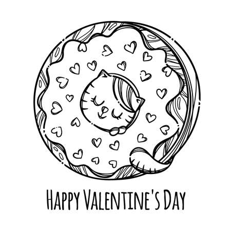 CAT VALENTINE DONUT Cute Kitten Stuck His Head In Donut Sweet Holiday Cartoon Monochrome Hand Drawn With Handwriting Text Clip Art Vector Illustration For Print