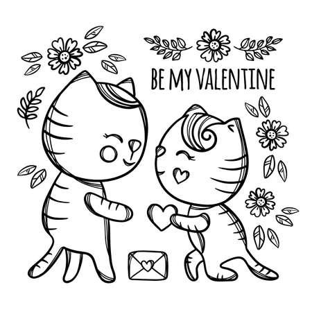 CAT MAKES MARRIAGE PROPOSAL Enamored Kitten Gives His Heart To Sweetheart Standing Knee Cartoon Monochrome Hand Drawn Clip Art Vector Illustration For Print