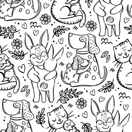 LOVE FOR MOMMY Cute Animals Hugs And Kisses Their Children Parental Relationship Monochrome Hand Drawn Seamless Pattern Vector Illustration For Print