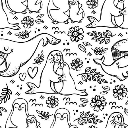 MY LOVELY MUM Mothers Day Sea Animals Hugs And Kisses Their Children Parental Relationship Monochrome Hand Drawn Seamless Pattern Vector Illustration For Print 向量圖像
